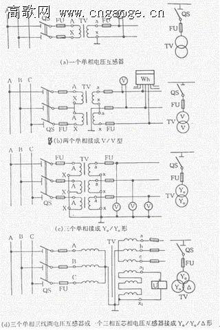 常用电压互感器接线图